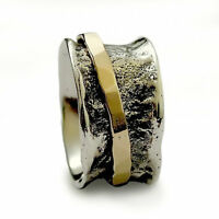 925 Oxidized Sterling Silver Gold Ring Classic Hammered Handmade Band 13mm - New