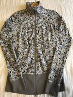 Lululemon Women's SZ 6 Small Fleur Asana Jacket Full Zip Gray Flowers