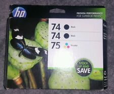 NEW GENUINE HP 3 INK CARTRIDGE BOX HP 74 BLACK(2x) & 75 TRI-COLOR CD9(A)