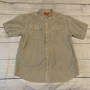 The North Face Shirt Short Sleeve Snap Button Up Striped Mens Size Medium