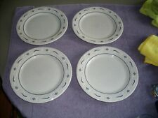 Set of 4 Longaberger Pottery 10� Woven Traditions Blue Dinner Plates Usa