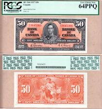 2 Consec Serial# 1937 $50 KGVI Bank of Canada PCGS UNC64; Gordon & Towers BC-26b