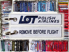Keyring LOT POLISH AIRLINES Remove Before Flight baggage tag label keychain