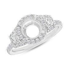18K White Gold 6.5mm Round Semi Mount Diamond Engagement Ring 3 Stone Setting