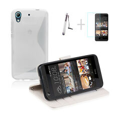 WHITE Wallet 4in1 Accessory Bundle Kit TPU Case Cover For HTC Desire 626