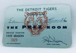 1959 Detroit Tigers Baseball Season Pass The Prez Room 369 Briggs Stadium