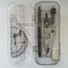 9 Pcs Math Tool Sets Rulers, Protractor, Mechanical Pencil, Compass