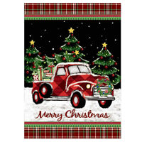 Morigis Merry Christmas Red Truck with Gifts Double Sided Winter Garden Flag
