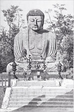 JAPAN - KAMAKURA : DAÏBOUDHS, colossal statue of BUDDHA - Engraving from 19th c.
