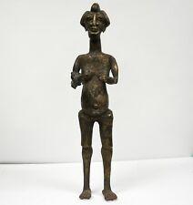 African BRONZE Bamileke Figure Sculpture Woman Holding Bird Cameroon Grasslands