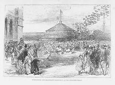 OLD ANTIQUE PRINT PIGEON RACES RACING ALL ENGLAND c1875 ALEXANDRA PALACE LONDON