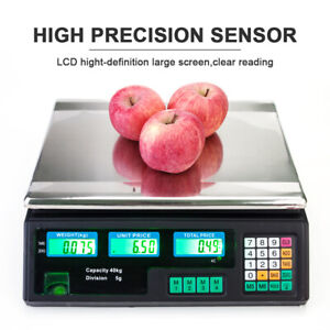 40kg/5g Digital Price Computing Retail Weight Scale Shop Commercial Market Black