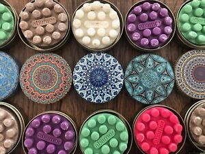 14 Scented Massage Soap Decorative Floral Round Tin Container Made in Turkey