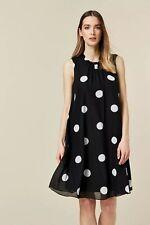 Wallis Womens Black Polka Dot Swing Skater Dress Sleeveless Round Neck