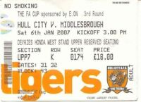 Ticket - Hull City v Middlesbrough 06.01.07 FA Cup