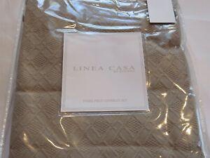 Sferra Linea Casa Matelasse Crochet Diamond 3P King Coverlet Shams Set Taupe