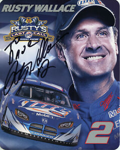 RUSTY WALLACE AUTOGRAPHED LAST CALL 2005 HANDOUT CARD 8x10