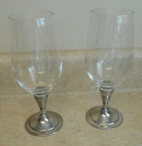 Arte Italica Vagabond House Iced Tea Wine Glass Goblet Italian Pewter Stem (2)