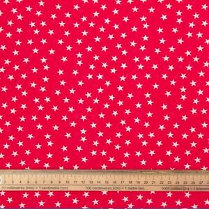 RED WHITE STARS FABRIC REMNANT 50 cms x 112cms  POLY COTTON PATCHWORK CRAFTS