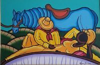 Carlos Eric Untitled Acrylic on Canvas 20X30 Original Painting Cuban Art 2001