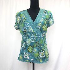 NEW YORK CITY DESIGN CO. Blue & Green Floral Blouse Top Shirt SIZE L Large