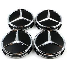 4x 75mm Wheel Centre Caps (Black & Chrome)  for  Mercedes-Benz Models