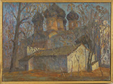 """Impressionism M.Rygoza """"Tsarev yard in Izmailovo"""" Original Russian Painting 1987"""