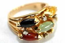 Heavy 14K Solid Gold, Diamonds, Grade A Jadeite & Black Jade Ring Size 6.5