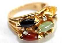 Heavy 14K Solid Gold, Diamonds, Grade A Jadeite & Black Jade Ring Size 6.5