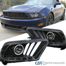 Fit 10-14 Mustang Sequential LED DRL Signal Black Projector Headlights Pair