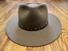Akubra Stockman Pure Fur Felt AUSSIE Hat BROWN Leather AustraliaSz 56 Small