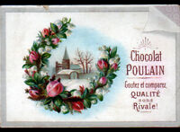 IMAGE CHROMO CHOCOLAT POULAIN / FLEUR MUGUET & PAYSAGE en hiver