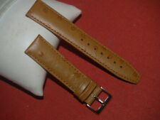 20mm TAN OSTRICH SPOT LEATHER WATCH STRAP WITH GILT BUCKLE