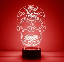 Sugar Skull LED Light Personalized FREE w/ Your Name - Remote - Night Light