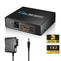 Full HD 1X2 HDMI Splitter Repeater Amplifier 3D 1080p 4K Switch Box 1 in 2 out