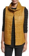 mustard EILEEN FISHER vest puffer coat jacket arnica stand collar quilted M