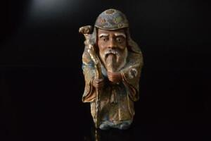 P3627: Japan Old Kutani-ware JUROJIN STATUE sculpture Ornament Figurines Okimono