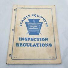 Vintage Vehicle Equipment Inspection Regulations Pennsylvania DOT May 1998