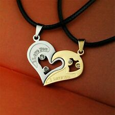 Couples his and her Heart Stainless Steel Gold & Silver pendant black cord