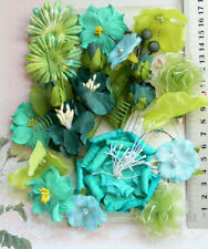 TURQUOISE, PINE & PISTACHIO GREEN 20 PAPER & SILK Flowers 7 Styles 15-75mm VE1MH