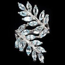 Großer Ring Blautopas Sky Blue 925 Silber 585 Weißgold Ø 17.5 mm