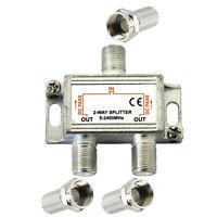 2 WAY COAX 5 - 2400 MHz TV AERIAL UHF VHF FM SIGNAL SPLITTER METAL ADAPTER NEW