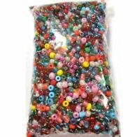 250g Rocailles Perlen 4mm Rund Glas Opak Silbereinzug Transparent Mix Z13#250g