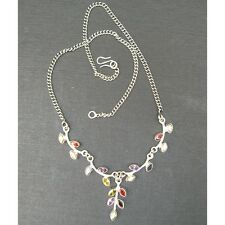 Wholesale Artist-Crafted Sterling Silver & Mixed Gemstone Nature Leaf Necklace