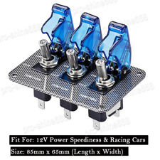 Universal 12V Blue LED Racing Car Van Toggle Ignition Switch Panel Carbon Fiber