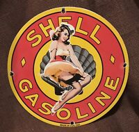 """VINTAGE STYLE PORCELAIN SHELL 12"""" ROUND GAS & OIL PUMP PLATE PINUP SIGN"""