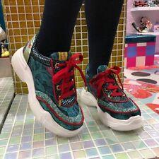 Irregular Choice 'Scrunchie' (E) Mint Glitter Lace Up Platform Trainers Shoes