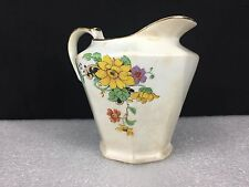 VTG Porcelain Creamer White with Yellow Flowers Gold Trim - Marked #7063