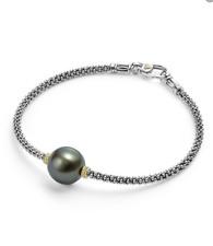 Lagos Caviar Sterling Silver Black Pearl Bracelet 18K Gold NEW