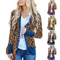 Women Loose Blouse Leopard Print Long Sleeve Coat Casual Button Warmer Cardigan